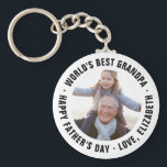 "World's Best Grandpa Father's Day Photo Gift Keychain<br><div class=""desc"">Custom printed key chains personalized with your special photo and custom text to make a one of a kind Father's Day gift. Use the design tools to customize the Happy Father's Day message or add more photos to create your own unique Father's Day gifts for dad and grandpa!</div>"