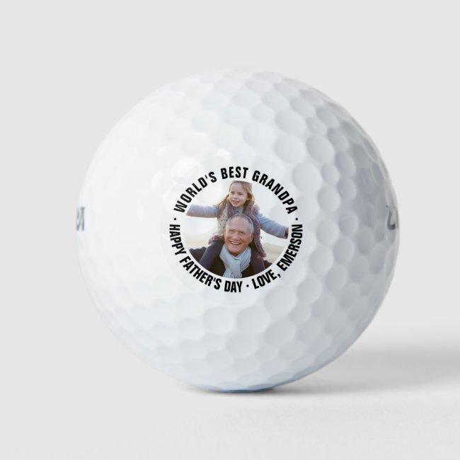 World's Best Grandpa Father's Day Photo Golf Balls
