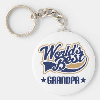 Worlds Best Grandpa Gift Basic Round Button Keychain