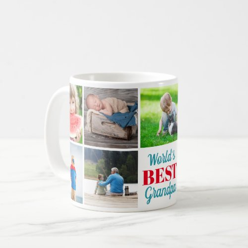 Worlds Best Grandpa Grandkids 9 Photo Collage Coffee Mug