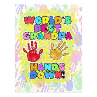 World's Best Grandpa...Hands Down! Postcard