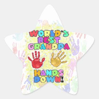 World's Best Grandpa...Hands Down! Star Sticker