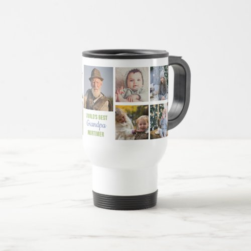 Worlds Best Grandpa Instagram Photo Collage Name Travel Mug