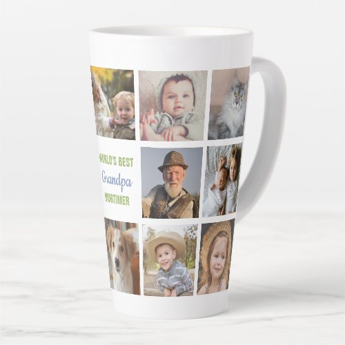 Worlds Best Grandpa Name Instagram Photo Collage Latte Mug