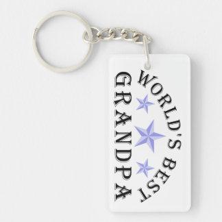 Worlds' Best Grandpa Stars Double-Sided Rectangular Acrylic Keychain