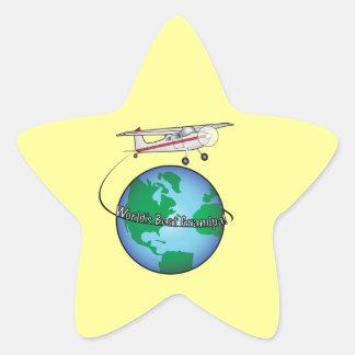 World's Best Grandpa with Airplane Star Sticker