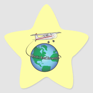 World's Best Grandpa with Airplane Sticker