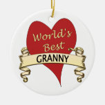 World's Best Granny Double-Sided Ceramic Round Christmas Ornament