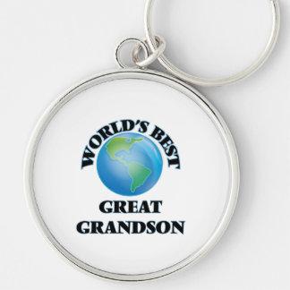World's Best Great Grandson Silver-Colored Round Keychain