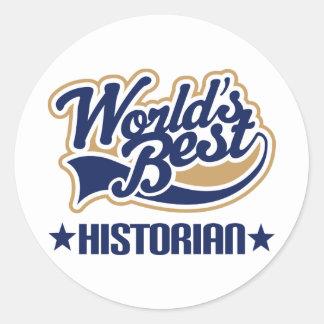 Worlds Best Historian Classic Round Sticker