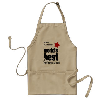 Worlds Best Husband and DAD with RED BLACK Text 3A Adult Apron