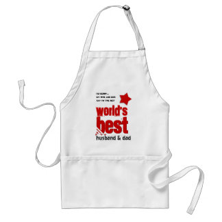 Worlds Best Husband and DAD with RED BLACK Text 3C Adult Apron