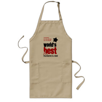 Worlds Best Husband and DAD with RED BLACK Text 3E Long Apron