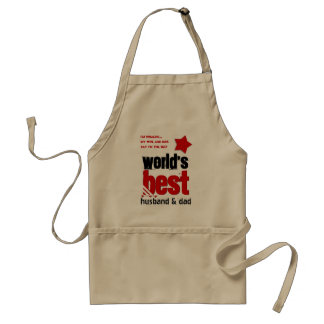 Worlds Best Husband and DAD with RED BLACK Text 6 Adult Apron