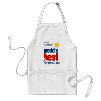 Worlds Best Husband and DAD with RED BLUE Text 3D Adult Apron