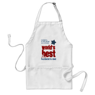 Worlds Best Husband and DAD with RED BLUE Text 4 Adult Apron