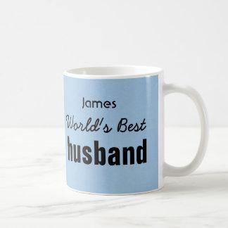 World's Best HUSBAND Blue Custom Name JAMES Classic White Coffee Mug