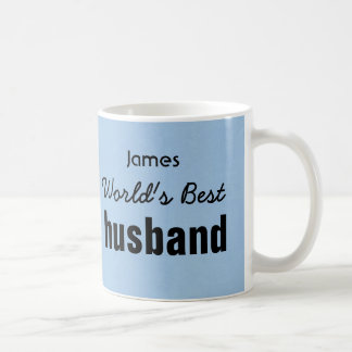 World's Best HUSBAND Blue Custom Name JAMES Mug