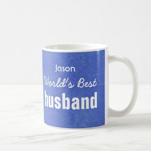 World's Best HUSBAND Blue Custom Name JASON Coffee Mug