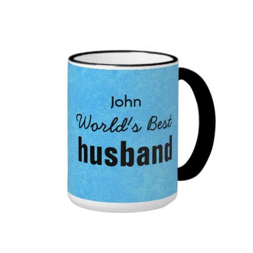 World's Best HUSBAND Blue Custom Name JOHN Mug