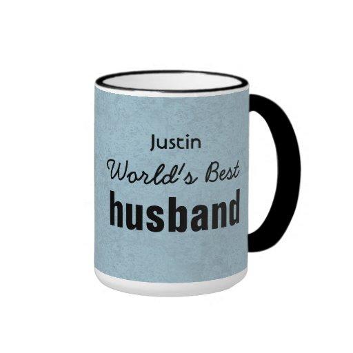 World's Best HUSBAND Blue Custom Name JUSTIN Mugs