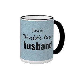 World's Best HUSBAND Blue Custom Name JUSTIN Ringer Mug