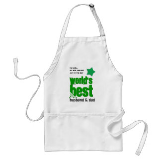 Worlds Best Husband DAD with GREEN BLACK Text 3G Adult Apron