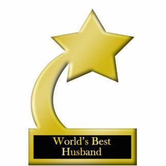 World's Best Husband, Gold Star Award Trophy Standing Photo Sculpture