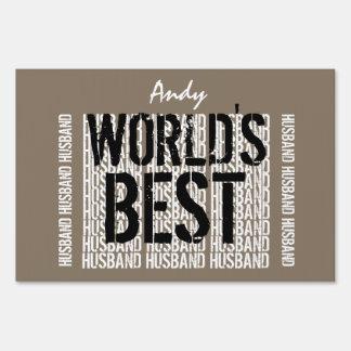 World's Best HUSBAND Trendy Text Design TAN A11 Lawn Sign