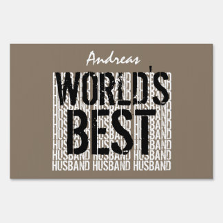 World's Best HUSBAND Trendy Text Design TAN A12 Yard Sign