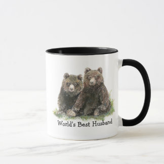 World's Best Husband, Watercolor Cute Bears Mug
