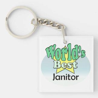 World's best Janitor Single-Sided Square Acrylic Keychain