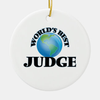 World's Best Judge Double-Sided Ceramic Round Christmas Ornament
