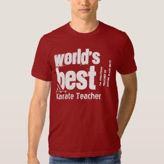 World's Best Karate Teacher Name Striped Letters T Shirt