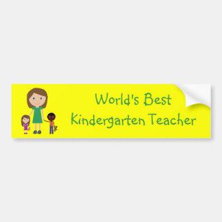World's Best Kindergarten Teacher Cute Cartoon Car Bumper Sticker