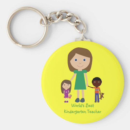 World's Best Kindergarten Teacher Cute Cartoon Keychain