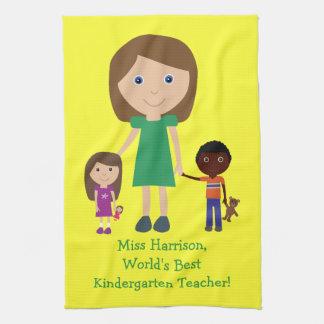 World's Best Kindergarten Teacher Cute Cartoon Kitchen Towel