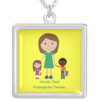 World's Best Kindergarten Teacher Cute Cartoon Custom Jewelry