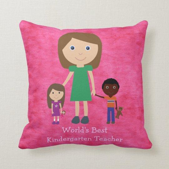 World's Best Kindergarten Teacher Cute Cartoon Throw Pillow