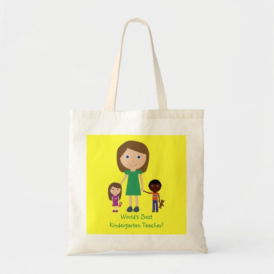 World's Best Kindergarten Teacher Cute Cartoon Tote Bag