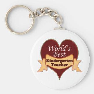 World's Best Kindergarten Teacher Basic Round Button Keychain