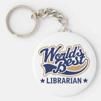Worlds Best Librarian Gift Basic Round Button Keychain