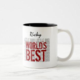 World's Best LITTLE BROTHER Custom Name B29C Two-Tone Coffee Mug