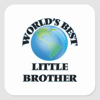 World's Best little Brother Square Sticker