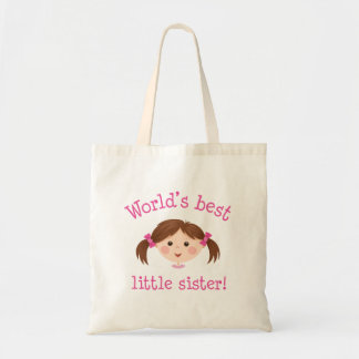 Worlds best little sister - brown hair budget tote bag