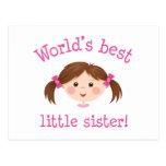 Worlds best little sister - brown hair postcard