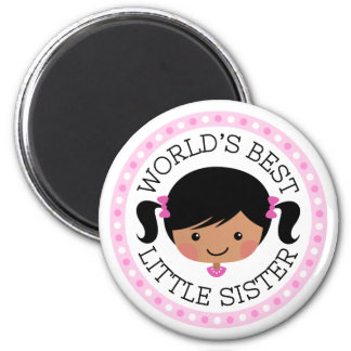 Worlds best little sister cartoon girl black hair magnet