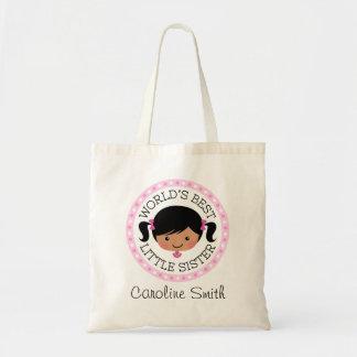 Worlds best little sister cartoon girl black hair tote bag