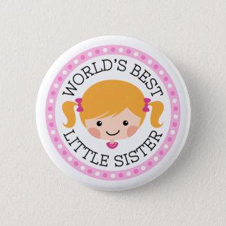 Worlds best little sister cartoon girl blond hair button