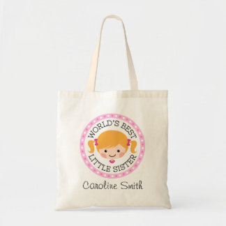 Worlds best little sister cartoon girl blond hair tote bag